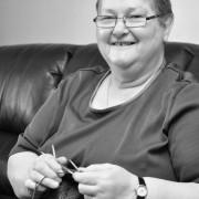 Ruby Cabot knitting. Photo: Jamie Pye