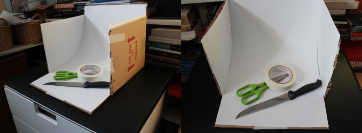 A whitebox, made from a cardboard box, open at top and front, with curved paper or bristol board and white sides. You can take photos from the top or the front. These are the tools I used to make it!