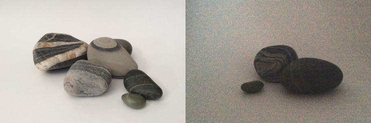 A good iPad photo taken in daylight on the left – a grainy one taken indoors at night on the right.
