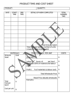 Sample Time and Cost Sheet