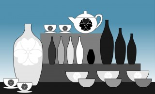 Repetition carries the eye through the display to the focal point, the teapot at the top of the display