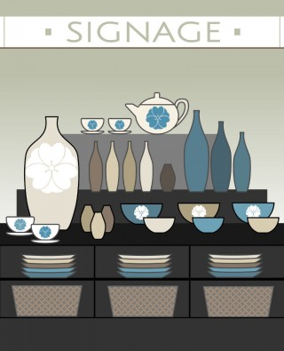 Signage above, storage below. Keep the items you want to sell between waist and eye level.